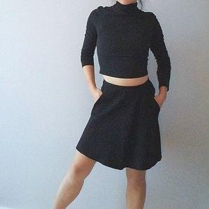 Wilfred Aritzia Black Gray Skater Scuba Skirt